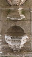 Abbaye de Mélan - English:  Baptismal font in the Mélan carthusian monastery in Taninges, Haute-Savoie, France