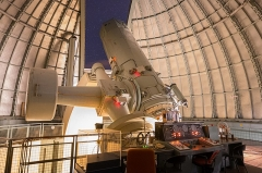 Observatoire de Haute-Provence - English:   The telescope used for the discovery of 51Peg b in 1995. Now hosting the SOPHIE instrument. Image taken between two SOPHIE targets during an observing run, the lights were turned on for the picture.