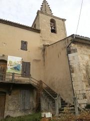 Eglise paroissiale Saint-Amand - Français:   Église de Saint-Amand de Sénas - Clocher vue partielle du sud ouest - Bouches du Rhône - France