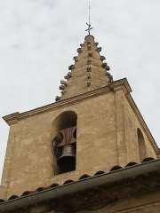 Eglise paroissiale Saint-Amand - Français:   Église de Saint-Amand de Sénas - Clocher vu du sud - Bouches du Rhône - France