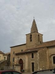 Eglise paroissiale Saint-Amand - Français:   Église de Saint-Amand de Sénas - Vue entrée, calvaire et clocher - Bouches du Rhône - France