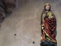 Eglise catholique de l'Invention de la Sainte-Croix - Français:   Alsace, Haut-Rhin, Église Sainte-Croix (XIIIe-XVe-XVIe) de Kaysersberg (PA00085477, IA68000563)  Statue de sainte (XVIe):        This object is classé Monument Historique in the base Palissy, database of the French furniture patrimony of the French ministry of culture,under the referencesPM68000165 and IM68006836. беларуская (тарашкевіца)| brezhoneg| català| Deutsch| English| español| suomi| français| magyar| italiano| македонски| Plattdüütsch| português| українська| +/−
