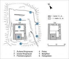 Ruines du château de Hagueneck - Deutsch:   Grundrisse der Burg Hageneck im Elsass