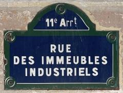 Immeubles - Français:   Plaque de la rue des Immeubles Industriels, Paris.