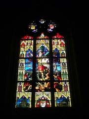 Eglise Notre-Dame-du-Roncier - Français:   Basilique Notre-Dame-du-Roncier de Josselin (Morbihan, France): vitrail de saint Michel