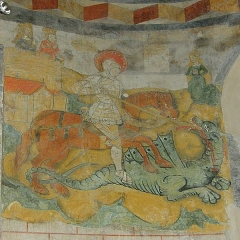 Eglise Saint-Martin - Français:   Saint Georges terrassant le dragon, Église de Jaleyrac, XIIe siècle.