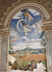 Ancien petit Séminaire de l'Esquile - Français:   Datant de la première partie du XXe siècle (1933), cette peinture, œuvre de Jean Druille, se présente comme une allégorie du socialisme agraire surplombée par une exaltation anticléricale de l'idéal communiste.