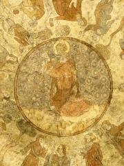 Cathédrale Saint-Etienne - English:   Cahors ( Lot ). Cathédrale Saint-Étienne - Dome interior with murals al secco ( 14th century ) showing scenes of the life of Saint Stephen and prophets - detail: Saint Stephen.