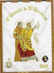 Eglise Saint-Genou (ancienne abbatiale) - Français:   Bannière de Saint Genou et Saint Génitour brodée pour le jubilé de 2000 ans de la naissance de Jésus