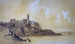 Citadelle et palais du Gouverneur, partiellement aménagé en Musée d'Ethnographie - Français:   Bastia, lithographie de Frédéric Bourgeois de Mercey, 1860, musée de Bastia