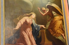 Cathédrale Saint-Michel et abords - Français:   Chapelle de Notre Dame de la Rominguière à la Cathédrale Saint-Michel de Carcassonne: Vierge de l\'Annonciation, tableau du XVIIIe siècle, venant de l\'Hôpital de Limoux.