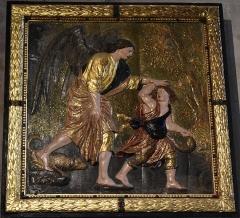 Eglise Saint-Michel - Français:   Panneau sculpté du 17e siècle à la Collégiale Saint-Michel de Castelnaudary: Voyage de Tobie et de l\'Archange.