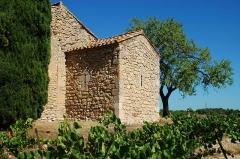 Restes de la chapelle Saint-Laurent - Français:   France - Languedoc - Aude - Moussan - chapelle Saint-Laurent (préroman) - chevet carré.