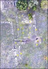 Villa gallo-romaine - Français:   Villa gallo-romaine de Vivios,Lespignan, Occitanie, partie sud-est: canalisations et salle à piliers, vue aérienne par drone.