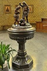 Eglise Saint-Martin - English:   Fonts baptismaux Eglise Saint-Martin de Bergues. Sculpture en bois du XVIIIe représentant le baptême du Christ par Saint Jean-Baptiste.