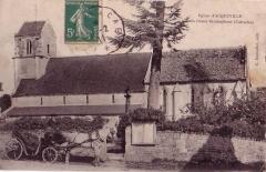 Eglise Saint-Aubin - Français:   carte postale de l\'église vers 1910.