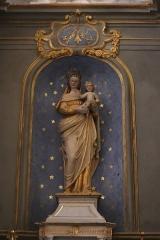 Château - Français:   Intérieur de l\'église Saint-Symphorien d\'Époisses (21). Autel et retable de la Vierge. Statue de la Vierge à l\'Enfant.