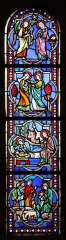 Château - Français:   Intérieur de l\'église Saint-Symphorien d\'Époisses (21). Vitrail du chevet. Baie 01. Annonciation, Visitation, Nativité, Adoration des bergers.