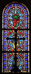 Château - Français:   Intérieur de l\'église Saint-Symphorien d\'Époisses (21). Vitrail du chevet. Baie 00. Arbre de Jessé. David, Salomon, la Vierge.