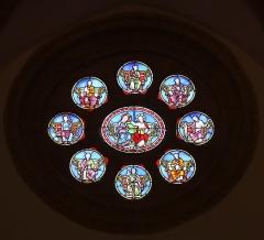 Château - Français:   Intérieur de l\'église Saint-Symphorien d\'Époisses (21). Vitrail du chevet. Baie 100. Couronnement de la Vierge, 7 prophètes (dont Moïse, Jacob et Jean-Baptiste) et Saint-Joseph.