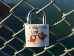 Pont de Rochemaure sur le Rhône - Français:   Sur la passerelle de Rochemaure, Ardèche, France des amoureux posent des cadenas pour sceller leur amour.