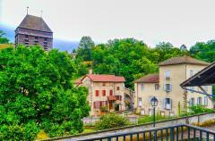 Eglise Saint-Theudère - Deutsch:   Dorfkern von Saint-Chef, Département Isère, Region Auvergne-Rhône-Alpes (ehemals Rhône-Alpes), Frankreich