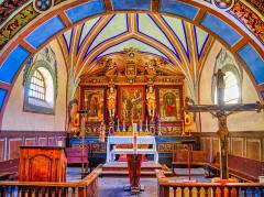 Chapelle Saint-Sébastien - Deutsch:   Hauptaltar der Kapelle St. Sebastian, Lanslevillard, Département Savoyen, Region Auvergne-Rhône-Alpes (ehemals Rhône-Alpes), Frankreich