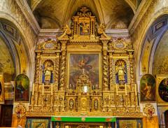 Eglise Saint-Michel - Deutsch:   Hauptaltar der Kirche St. Michael, Lanslevillard, Département Savoyen, Region Auvergne-Rhône-Alpes (ehemals Rhône-Alpes), Frankreich