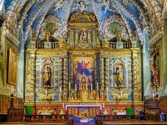Eglise - Deutsch:   Hochaltar der Kirche Marä Himmelfahrt, Valloire, Département Savoyen, Region Auvergne-Rhône-Alpes (ehemals Rhône-Alpes), Frankreich