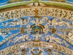 Eglise - Deutsch:   Chorgewölbe der Kirche Marä Himmelfahrt, Valloire, Département Savoyen, Region Auvergne-Rhône-Alpes (ehemals Rhône-Alpes), Frankreich