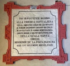 Eglise Notre-Dame de Montserato - Français:   Plaque à l\'intérieur de la chapelle de A Madonna di Munserrà, ou de Monserratu, à Bastia