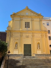 Eglise Saint-Charles - Corsu:   San Carlu, façade de l\'église Saint-Charles-Borromée de Bastia, carrughju dirittu, rue droite, rue chanoine letteron