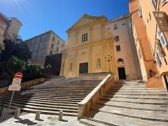 Eglise Saint-Charles - Français:   Escalier monumental devant l\'église San Carlu, Saint-Charles de Bastia