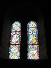 Eglise Saint-Martin - Français:   Église Saint-Martin de Lignières-de-Touraine (Indre-et-Loire, France): vitraux du saint Cœur de Marie et de saint Joseph