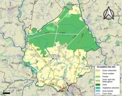 Forges de Lanouée - Français:   Carte des infrastructures et de l'occupation des sols en 2018 de la commune de fr:Forges de Lanouée (France).