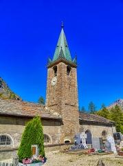 Eglise, chapelles et oratoires - Deutsch:   Turm der Kirche St. Johannes der Täufer, Bessans, Département Savoyen, Region Auvergne-Rhône-Alpes (ehemals Rhône-Alpes), Frankreich