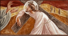 Eglise Saint-Louis - Français:   Chemin de croix de l\'église Saint-Louis de Marseille peint par Jacques Martin-Ferrières. Station N°V: Le cyrénéen aide Jésus à porter sa croix