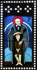Eglise Saint-Louis - Français:   Vitrail représentant saint Vincent de Paul protégeant un enfant placé dans le narthex de l\'église Saint-Louis de Marseille
