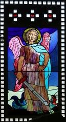 Eglise Saint-Louis - Français:   Vitrail représentant l\'archange saint Michel placé dans le narthex de l\'église Saint-Louis de Marseille._