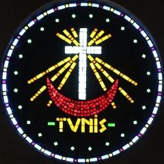 Eglise Saint-Louis - Français:   église Saint-Louis à Marseille. Vitrail en pavés de verre représentant Tunis où est mort Saint Louis