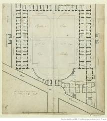 Ancienne caserne des Mousquetaires Noirs, dans l'actuel Hôpital des Quinze-Vingts (Centre d'ophtalmologie) - Français:   plan de l\'hôtel des Mousquetaires Noirs plan de 1699