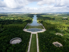 Domaine national de Versailles - English:   Aerial view of the bassin d\'Apollon and the Grand Canal in the gardens of Palace of Versailles, France