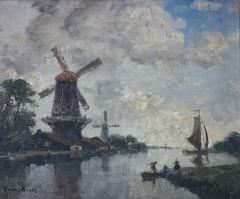 Maison d'Armande Béjart - Français:   Peinture à l\'huile de Frank Boggs représentant un canal en Hollande, XXe siècle, Musée d\'art et d\'histoire de la ville de Meudon