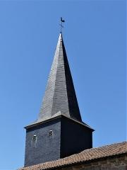 Eglise Saint-Priest - Français:   Le clocher de l\'église, Saint-Priest-la-Plaine, Creuse, France.