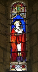 Eglise Saint-Priest - Français:   Vitrail de Louis Victor Gesta représentant saint Charles Borromée, église de Saint-Priest-la-Plaine, Creuse, France.