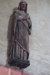 Eglise Saint-Valérien - Français:   Intérieur de l\'église Saint-Valérien à Chitry (89). Groupe sculpté: le Christ en croix entre la Vierge et Saint-Jean. Détail. La Vierge.