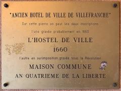 Hôtel de ville - Français:   Plaque de l\'Ancien Hôtel de Ville, Villefranche-sur-Saône.