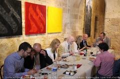 Château de Plieux -  De gauche à droite: Damien Rieu, le général Piquemal, Mme Szalai-Veszelszki (Hongrie), Camus, Mrs Sanborn (Grande-Bretagne), le général Martinez, Marco Santi (Belgique), Anne-Marie Waters (Grande-Bretagne), samedi 2 juin 20\