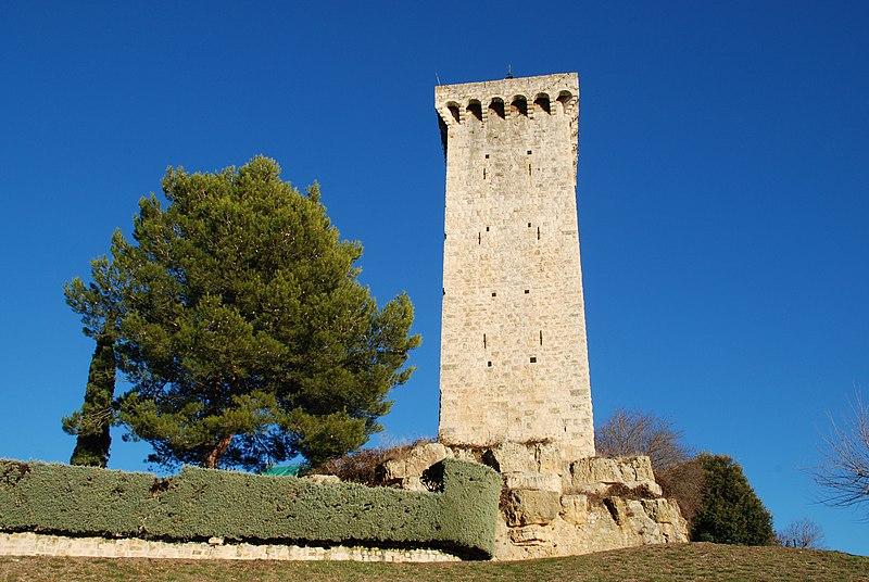 Photo du Monument Historique Tour dite de l'Horloge situé à Saint-Martin-de-Brômes