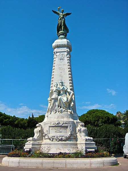 Photo du Monument Historique Monument du centenaire de la réunion à la France situé dans le jardin Albert Ier situé à Nice